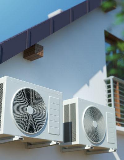 Klimaanlage an der Hauswand